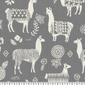 Super Snuggle Flannel Fabric-Peruvian Llamas Gray