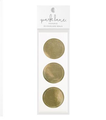 Park Lane 30 pk Circle Envelope Seals-Gold