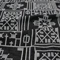 Sportswear Denim Fabric-Geometric Embroidery on Black