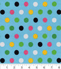 Snuggle Flannel Fabric -Multi Dots On Blue