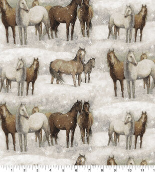 Super Snuggle Flannel Fabric-Winter Horses