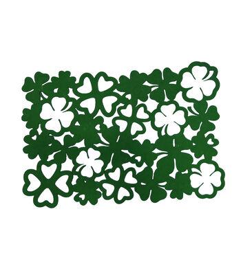 St. Patrick's Day Decor 19''x13'' Felt Shamrock Placemat