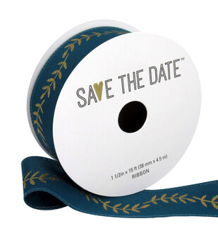 """Save the Date 1.5"""" x 15ft Ribbon-Gold Fern On Teal"""