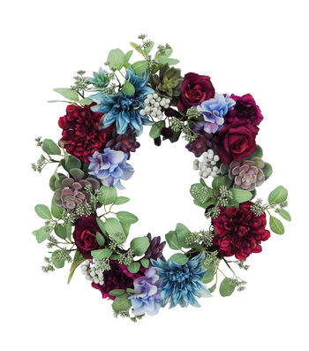 Blooming Autumn Rose & Succulent Fashion Wreath