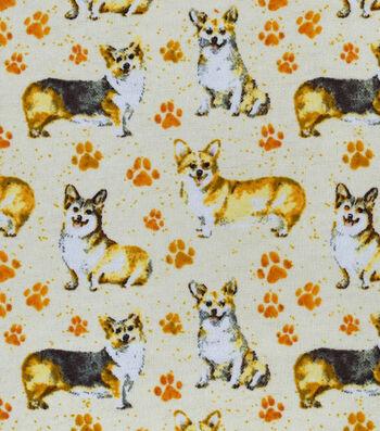 Snuggle Flannel Fabric -Cute Corgi Pups