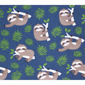Super Snuggle Flannel Fabric-Happy Sloth on Navy