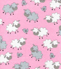 Snuggle Flannel Fabric-Sheepie Pink