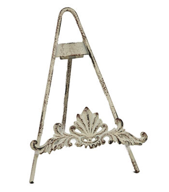 """9"""" Distressed White Metal Easel"""