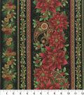 Christmas Cotton Fabric 44\u0022-Poinsettia Holiday Stripes
