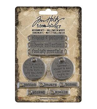 Idea-Ology Metal Adornments 10/Pkg-Antique Nickel Halloween Words