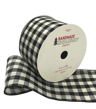 Handmade Holiday Christmas Ribbon 4''x40'-Black & Ivory Buffalo Checks