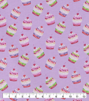 Snuggle Flannel Fabric-Tossed Cupcakes on Purple