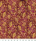Asian Inspired Cotton Fabric -Floral Vines Dark Pink Metallic