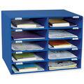 Classroom Keepers Mailbox, 10-Slot, Blue, 16.625\u0022H x 21\u0022W x 12.875\u0022D