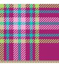 Blizzard Fleece Fabric-Hot Pink Regan Plaid