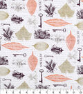 Harvest Cotton Fabric -Keys and Leaves