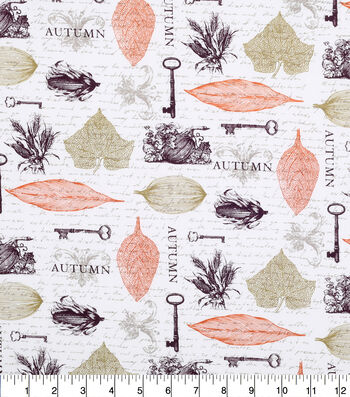 """Harvest Cotton Fabric 43""""-Keys and Leaves"""