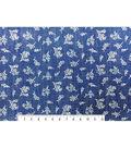 Doodles Juvenile Apparel Fabric -Floral Foil on Denim