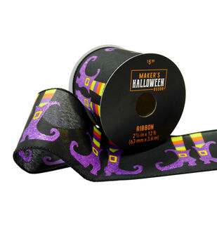 Maker's Halloween Decor Ribbon 2.5''x12'-Witch Feet on Black