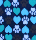Blizzard Fleece Fabric -I Heart Paws