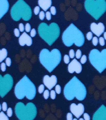 "Blizzard Fleece Fabric 59""-I Heart Paws"