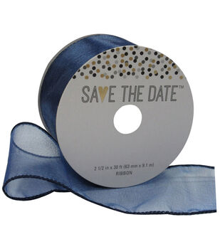 Save the Date 2.5'' X 30' Ribbon-Navy Sheer