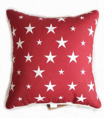 Americana Patriotic Pillow-White Stars on Red