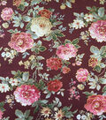 Scuba Knit Fabric 57\u0022-Burgundy Rose Floral Foiled