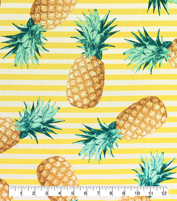 Outdoor Fabric 54''-Pineapples on Stripes