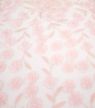 Sew Sweet Dahlia Mesh Fabric-3D Pink Embellished Floral