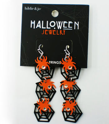 hildie & jo Halloween Black Web with Orange Spider Earrings