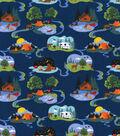 Novelty Cotton Fabric-Camping Life Navy