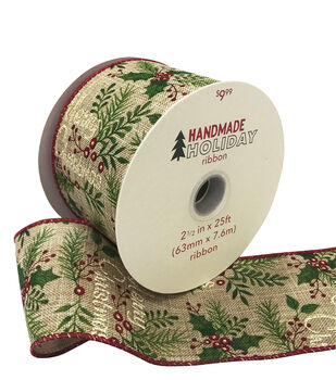 Handmade Holiday Christmas Ribbon 2.5''x25'-Merry Christmas & Branches