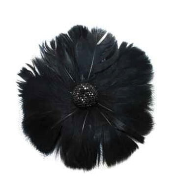 Black Feather with Netting Pin Clip