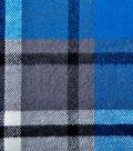 Plaiditudes Brushed Cotton Fabric -Blue, Gray & Black Grid Check