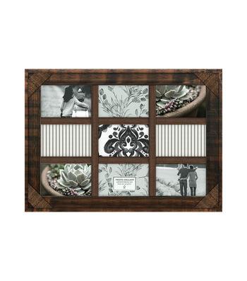 Wood 9 Image Wall Frame 4''x6''-Walnut Crosshatch