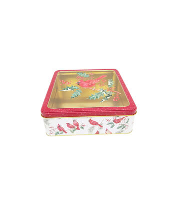 Maker's Holiday Large Square Cookie Container with Clear Top-Cardinal