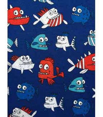 Doodles Interlock Knit Fabric 57''-Patriotic Piranhas