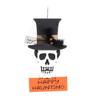 Maker's Halloween Skull with Top Hat Wall Decor-Happy Haunting