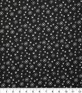 Christmas Cotton Fabric 43\u0022-Pawprint Snowflake Black Glitter