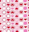 Valentine Print Fabric-Hearts N Dots Pink