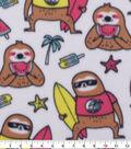 Blizzard Fleece Fabric-Summer Sloth