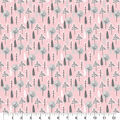 Nursery Flannel Fabric-Wood Trees on Pink
