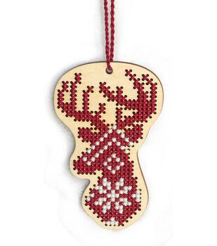 Dimensions Wood Ornament Stitch Kit-Deer