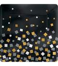 Sparkling Confetti Square Metallic Paper Plate 10\u0022 8/Pk