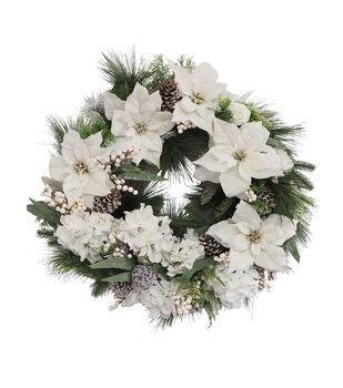 Handmade Holiday Christmas 29'' Pine, White Poinsettia & Berry Wreath