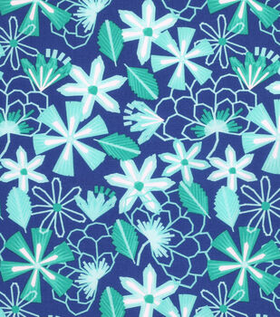 Keepsake Calico Cotton Fabric -Paper Flowers Navy