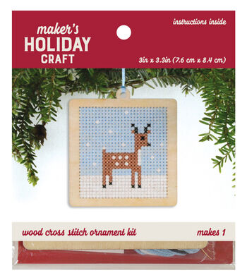 Wood Cross Stitch Ornament Kit-Deer