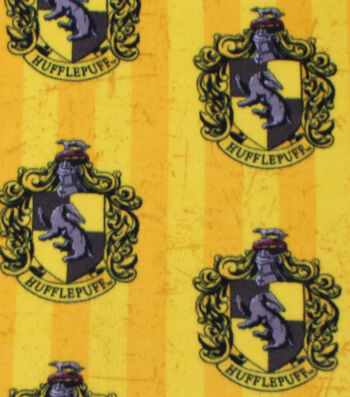 Harry Potter Fleece Fabric 58''-Hufflepuff Crest on Stripes