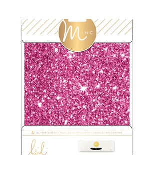 """Heidi Swapp Minc Glitter Sheets 6""""X8"""" 4/Pkg-Pink"""